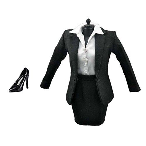 Sharplace 1/6 Weibliche Aktionfigur Kleidung Damen Anzug Set, Inkl Jacke, Hemd, Rock, Strümpfe, Hohe Absätze ( Weiß + Schwarz) (Rock Anzug)