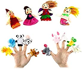 Kuhu Creations® Supreme 14 Pcs Animal & Mermaid Baby Story Telling Finger Puppets.