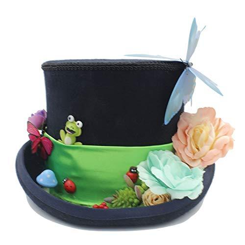 en für Frauen, Home Männer und Frauen Hut - DIY Steampunk Zylinder mit Wald Blumen Party Hut für Frauen Tea Party Hut ()