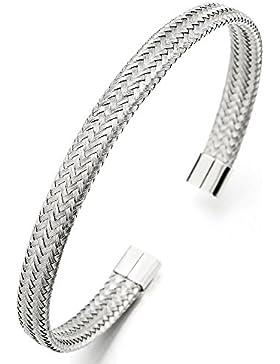 Elastische Verstellbare-Edelstahl Geflochtene Verflochtenen Stahlkabel Armband Herren Damen, Armreif Silber