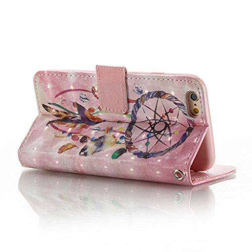 iPhone 6S Plus/6 Plus Hülle,Careynoce Schmetterling Blume Traumfänger 3D Erleichterung Retro Painted Prägemuster Design PU Leder Wallet Case Folio Schutztasche HandyHülle mit Standfunktion Kartenfäche M04