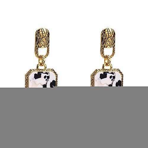 Kostüm Kuh Muster - GLJIJID Retro-Stil Marmor Kuh Muster Designer Ohrringe, Einfaches Und Elegantes Design, Machen Sie Eleganter Gold