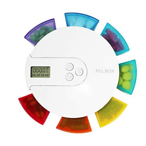 TOPBATHY Pillendose Elektronische Digital Pillenbox Tablettenbox mit Wecker Timer Alarm 7 Fächer Lagerung Tragbar (Bunt)