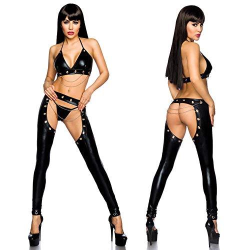 Zangaiyizu Erotische Kleidung Lack Leder Dance Club Kostüme Spielbar Nachtclub Performances Charme Uniformen Cosplay Versuchung Nacht Erotik,XXL (Performance Kunst Kostüme)