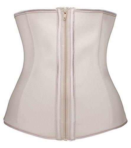 TwinsFlame Damen Waist Trainer Sport Fett Verbrennen Latex Korsett mit Zipper Shaper (3XL(Für Taille 86-91CM), (Plus Kostüme Größe Mittelalter)