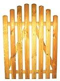 StaketenTür 'Standard' 100x120/140 cm - oben - kdi / V2A Edelstahl Schrauben verschraubt - aus frischem Holz gehobelt - oben gebogene Ausführung - kesseldruckimprägniert