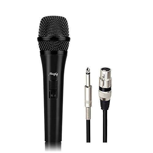 Microfono Dinamico Mugig con 6 Mt di Cavo XLR, Microfono Cardioide Unidirezionale con Testa Placcata in Oro, Per Esibizioni, Rappresentazioni, Karaoke, Discorsi Pubblici, Registrazione