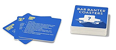 npw Neuheit Getränke Untersetzer Pub Trivia Quiz Karten–Bar Banter Untersetzer Classic Spiele, blau, 15Stück