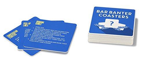 NPW Neuheit Getränke Untersetzer Pub Trivia Quiz Karten-Bar Banter Untersetzer Classic Spiele, blau, 15Stück