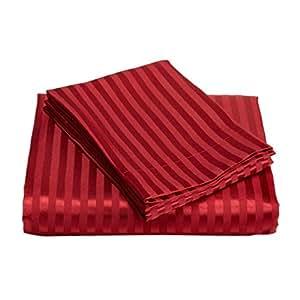250 fils satin rayures drap housse 100 coton gyptien for Drap housse coton egyptien