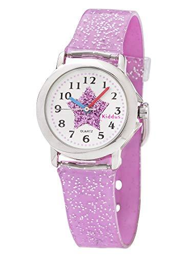 Kiddus Kinder Mädchen Uhr Analog Japanischer Quarz Armband mit Glitzer Wasserdicht FAB4 Stern - 6
