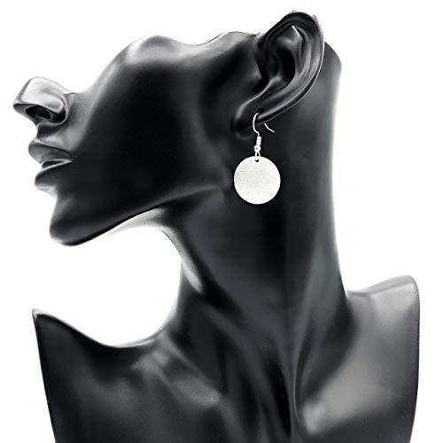 Ohrringe SILVER SKY rund Struktur versilbert antik hängend handmade einzigartig Damen Mädchen Schmuck Design modern filigran Muster Jugendstil