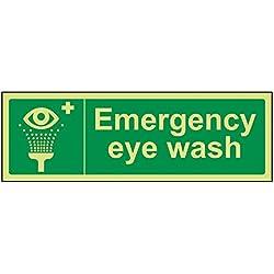 vsafety 23022AX-G lavaojos de emergencia condiciones de seguridad general señal, brillan en la oscuridad, 1mm, plástico, paisaje, 300mm x 100mm, color verde