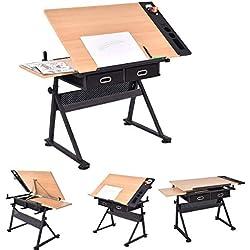 Mesa de dibujo y taburete | con doble superficie y 2 cajones grandes, para Bellas Artes, clases de trabajo, arquitectos, ingeniería | Escritorio, mesa inclinada, pintura, trabajo