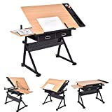 Best Drafting Tables - FOBUY Adjustable Tiltable Tabletop Drawing Table Home Office Review