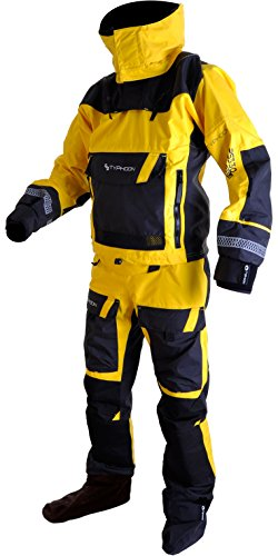 Typhoon 2017 Mens PS330 Kayak/Ocean Drysuit + Con Zip + Fleece Yellow/Black 100160 Sizes- - Medium