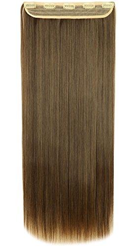 Clip extension capelli fascia unica capelli lunghi lisci one piece 3/4 full head larga 25cm lunga 65cm vari colori, marrone cioccolato mix biondo chiaro