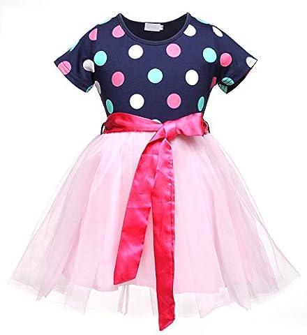 Kleine Sorrel Kleine Mädchen Kleider Kurzarm Polka Dots Bedruckte Tüll Tutu Kleid Größe 2 - 7 Y