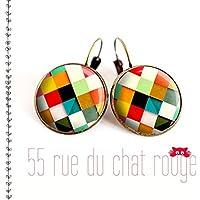 orecchini, motivi multicolori, Arlecchino, piccoli quadrati colorati, finitura bronzo, misura 20/18/16/14/12 mm