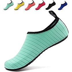 BOLOG Chaussures Aquatiques pour Enfants Filles Garçons Chaussures de Sport Chaussures de Plage Chaussures D'eau Piscine Surfer Yoga Nautique Plongée Aqua Vert EU40/41