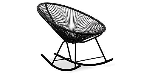 EUROSILLA Acapulco Sessel Schaukelstuhl für Garten, Schwarz, 70x 89x 79cm, 1 Stück