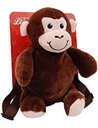 Linzy Plush Monkey And Child Safety Harness Backpack, Brown 13""