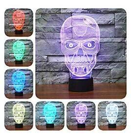 Nuevo 3d de calavera lámpara de mesa luz nocturna cambio de 7colores LED luz de noche para Decor Regalo