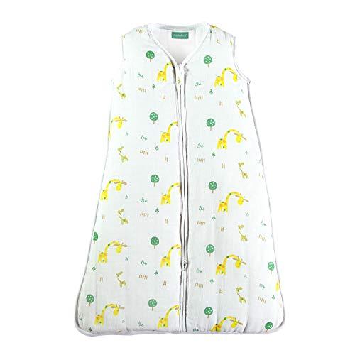 molis&co. Babyschlafsack aus Premium-Musselin mit Futter. Superweich und warm. 6-18 M. 90 cm. TOG 2.5. Ideal für die Übergangszeit und den Winter. Unisex-Safari-Giraffendruck in Gelb- und Grüntönen.