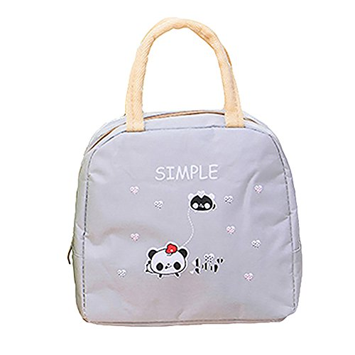 Pengyu Portable Fashion lovely termica lunch box cibo Storage Bag Pouch Gray