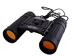 Binoculars 8 x 21 - Good Quality Rubber Coated Black Compact Folding binocular. High Power Magnification with Fully Coated Anti-glare lenses.