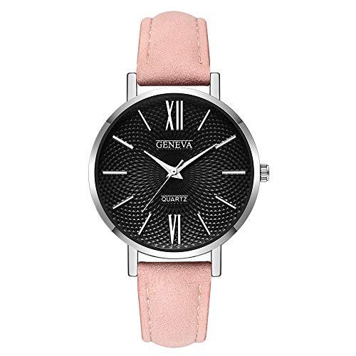 Uhren Leder Edelstahl Männer Frauen Stahl Analog Quartz Armbanduhr Rosa