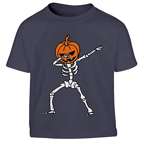 Kostüm Knochen Kleinkind Lustig - Halloween Skelett Dab Kürbis Kostüm Kleinkind Kinder Jungen T-Shirt 130/140 (8-10J) Marineblau