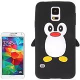 Coque silicone cartoon Pingouin pour Samsung Galaxy S5 SV i9600 noire