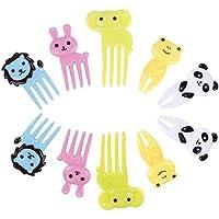 Unicoco Tenedor Dibujos Animados 10pcs Tenedor Fruta Tenedor Plástico Lindo Cubiertos Niños Baby
