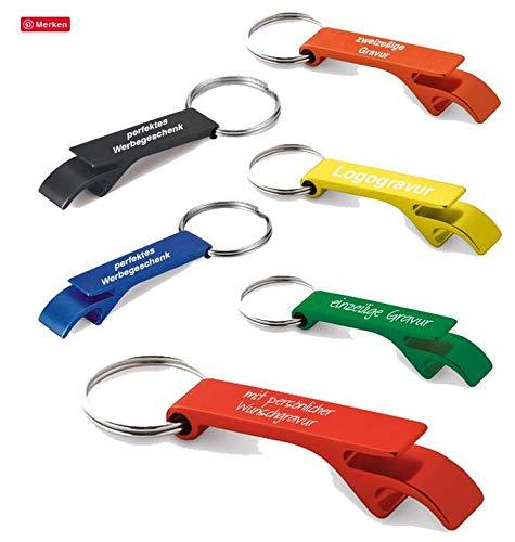 Schlüsselanhänger mit Flaschenöffner aus Aluminium inkl. Gravur, Menge:Menge 50 Stück