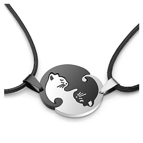 Zysta Personalized Gravur- Edelstahl YinYangKette Freundschaftskette PärchenKette Taichi Fengshui Schwarz Weiß Katzen PuzzleAnhänger Halskette Personalisierte Geschenke (Non-Gravur)