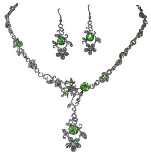 Filigranes Trachtenschmuck Dirndl Kristall Collier - Kette und Ohrhänger im Set - Apfel / Peridot grün