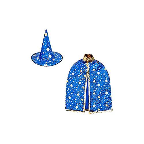 Kostüm Sterne Kind - ZZM Hexenhut und Umhang für Kinder, Zauberer Umhang und Hut Gold Stern Halloween Weihnachten Kostüme Cosplay Kostüm für Party Kleinkinder Jungen Mädchen blau