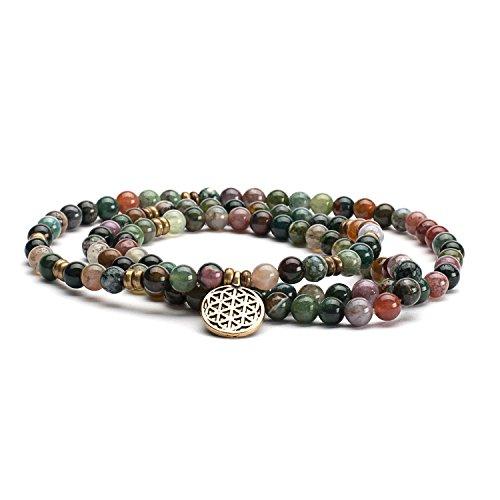 Mala Perlen-Armband, indischer Achat mit Charm 'Blume des Lebens' Gr. M, mehr-farbige Perlen in Erdtönen