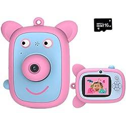 WANGCHAO Appareil Photo pour Enfants Mini-Dessin animé, écran de 2 Pouces écran 8MP Avant et arrière à Double lentille intégré Amusant Amusant Cadre Photo USB Charge Enfants Cadeau d'anniversaire