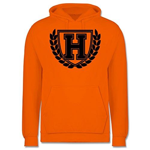 Anfangsbuchstaben - H Collegestyle - Männer Premium Kapuzenpullover / Hoodie Orange