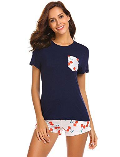 Beyove Damen Pyjama Zweiteiliger Kurz Ärmel Schlafanzug Rundhals Nachthemd Set Niedlich Shorts Navy blau L -