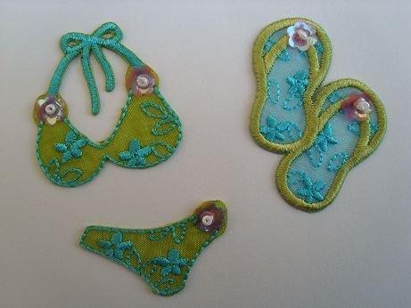 Preisvergleich Produktbild 3-er Set Sommer Badeschuhe Bügelbilder Bikini Badehose Aufnäher Sticker Applikation