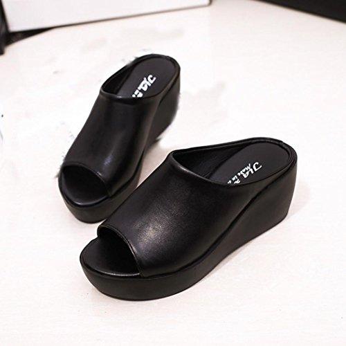 Vovotrade Mode Femmes Mode de Vie à l'été Sandales à Bouche de Poisson Chaussons Bottines épaisses Vente Chaude Noir
