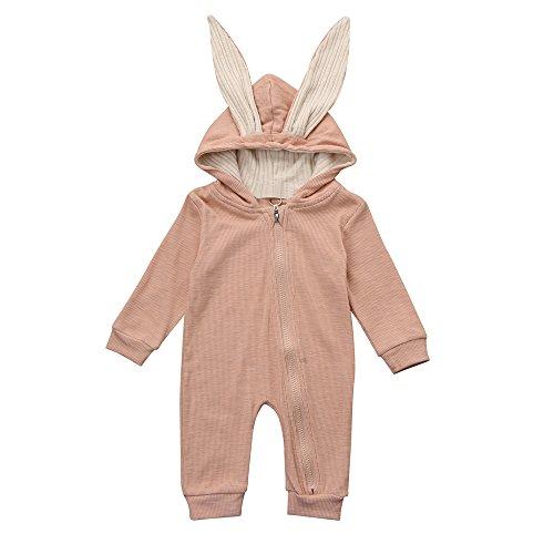 Kinderkleid Honestyi Neugeborenes Baby Mädchen Jungen Kaninchen Ohr warme mit Kapuze Spielanzug Overall Kleidung 3D (Roas,70)