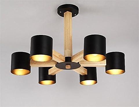 GBT Salon Restaurant Chambre à coucher en bois moderne Lustre de fer? Lampes LED, lumière chaude, éclairage Blanc, lustres, Lampes de lumières d'intérieur, extérieur, Lampes de mur?, noir