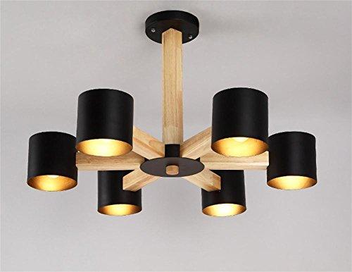 Preisvergleich Produktbild GBT Wohnzimmer Restaurant Schlafzimmer Holz Moderne Eisen Kronleuchter LED Lichter, warm, Licht, Weißes Licht, Kronleuchter, innen-Lichter, Leuchten, Wand-, schwarz