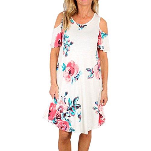 Mini Dress VENMO Frauen Sommer Urlaub trägerlosen Damen Strand Print Kleid (XL, White) (Trägerlosen Chiffon-cocktail-kleid)