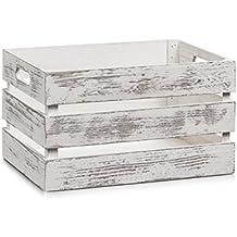 Zeller 15131 Caja de Almacenamiento, Madera, Blanco, 35x25x20 cm