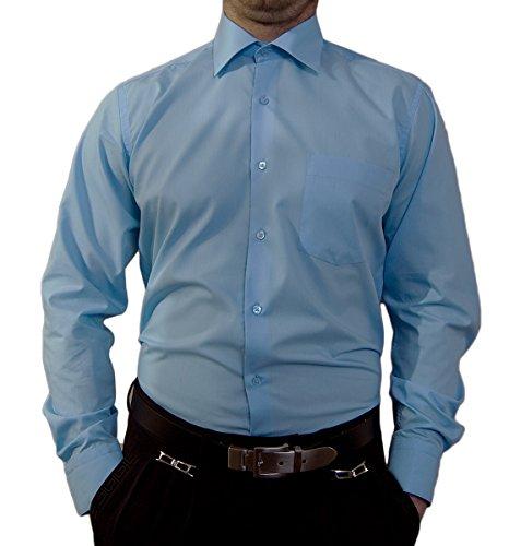 Camicia da uomo senza stiro, colletto classico, camicia da uomo, a maniche lunghe, colori assortiti blu pastello 42